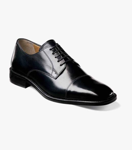 Mens Dress Shoes Black Cap Toe Oxford Florsheim Lawrence