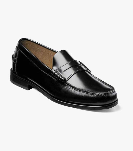 Mens Extended Widths And Sizes Shoes Black Moc Toe Penny Loafer