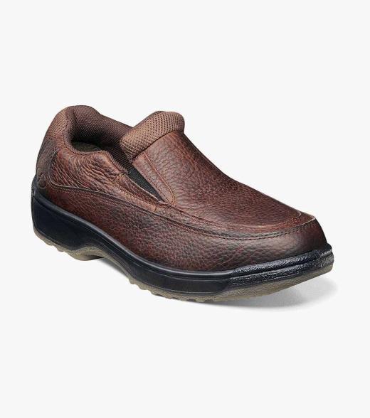 Lucky Mens leather moc toe slip on safety shoe