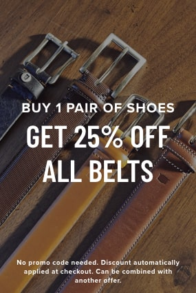 Men's Belts and Suspenders category. Buy 1 pair of shoes, get 25% off all belts. The featured image is a variety of Florsheim belts.