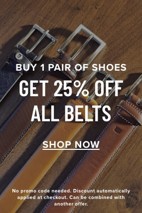 Factory Seconds category. Buy 1 pair of shoes, get 25% off all belts. Click to shop the Florsheim belts category.