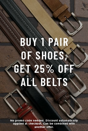 Shoes for Men view all category. The featured products are a variety of Florsheim belts.