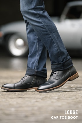 Black Boots category. The featured product is the Lodge Cap Toe Boot in Black Crazy Horse.