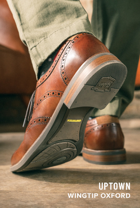 Image of the sole on the bottom of the Uptown Wingtip Oxford in Cognac.