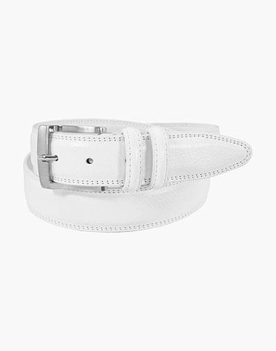 Martin Pebble Grain Leather Belt in White for $35.00