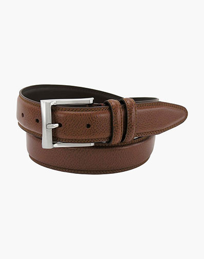 Martin Pebble Grain Leather Belt in Cognac for $35.00