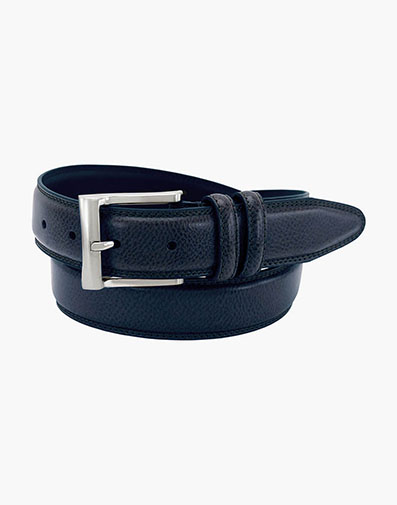Martin Pebble Grain Leather Belt in Navy for 35.00 dollars.