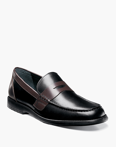 Alwyn Moc Toe Penny Loafer in Black and Brown for 49.90 dollars.