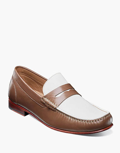 Beaufort Moc Toe Penny Loafer in Cognac and White for 130.00 dollars.
