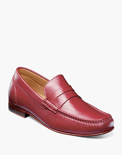 Beaufort Moc Toe Penny Loafer in Red for 130.00 dollars.