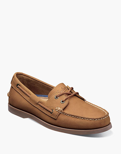 Nevis Moc Toe Boat Shoe in Tan Nubuck for 39.90 dollars.