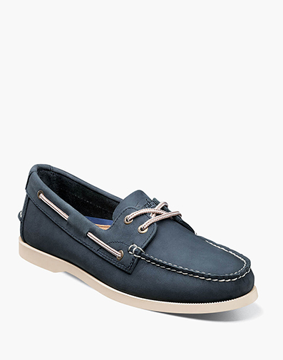 Nevis Moc Toe Boat Shoe in Navy for 39.90 dollars.