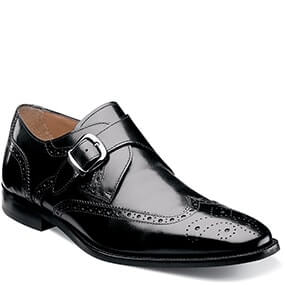 Sabato Wingtip Monk Strap Oxford in Black for $99.90