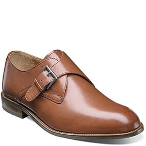 Pascal Plain Toe Monk Strap Oxford in Saddle Tan for $99.90