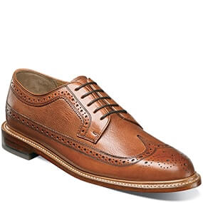 The featured product is the Hertiage Wingtip Oxford in Cognac.