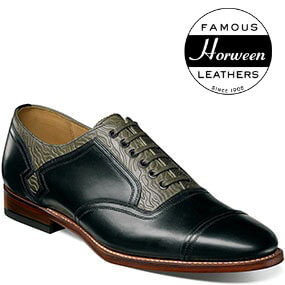 The featured product is the 125th Cap Toe Oxford in Black/Gray.