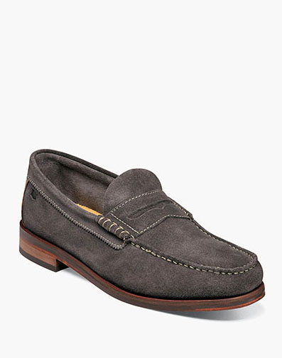 Heads Up Moc Toe Penny Loafer in Gray Suede for 49.90 dollars.