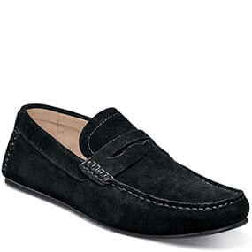 Denison Moc Toe Penny Driver in Black Suede for $69.90
