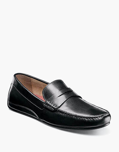 Oval Moc Toe Penny Driver in Black for 79.90 dollars.