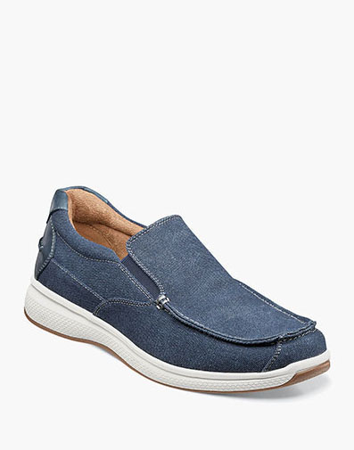 Great Lakes Canvas Moc Toe Slip On in Navy for 85.00 dollars.