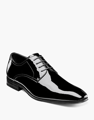 Tux  Plain Toe Oxford in Black Patent for 115.00 dollars.