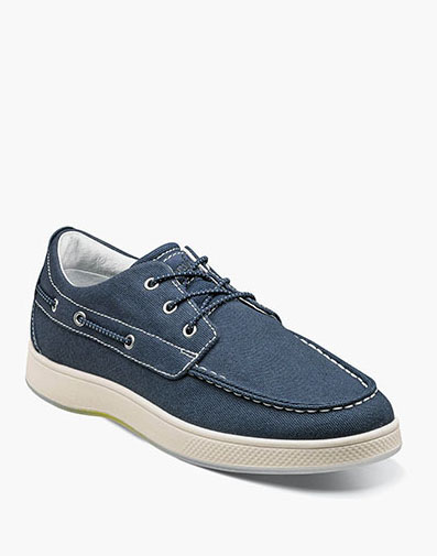 Edge  Moc Toe Boat Shoe in Navy for 64.90 dollars.