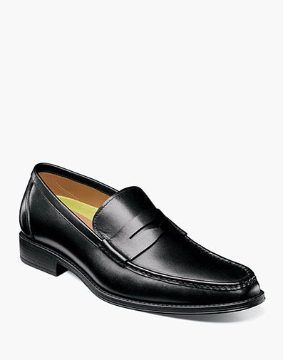 Amelio Moc Toe Penny Loafer in Black for 115.00 dollars.