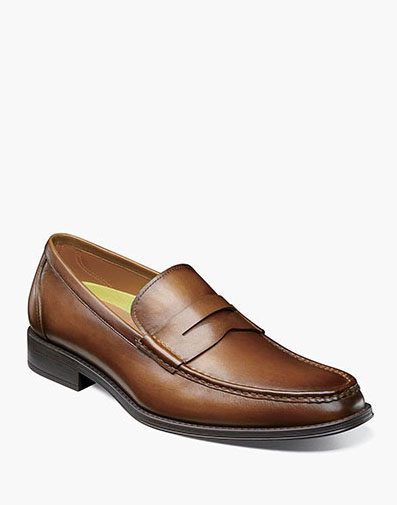 Amelio Moc Toe Penny Loafer in Cognac for 115.00 dollars.