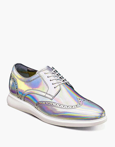 Florsheim Fuel Reflect Iridescent Wingtip Oxford in Platinum for $195.