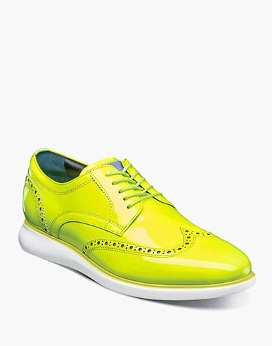 Florsheim Fuel Reflect Neon Wingtip Oxford in Lime for $195.