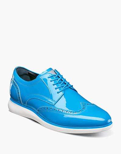 Florsheim Fuel Reflect Neon Wingtip Oxford in Blue for $195.