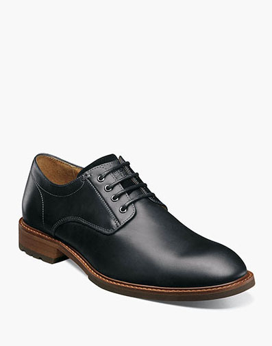 Lodge Plain Toe Oxford in Black Crazy Horse.
