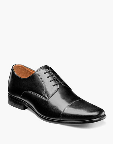Postino  Cap Toe Oxford in Black Smooth for $110.00