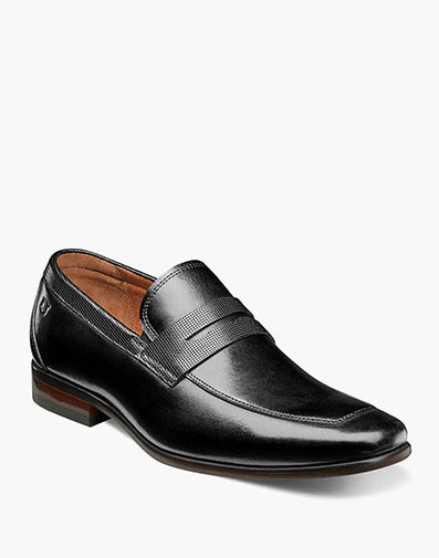 Postino Moc Toe Penny Loafer in Black for 115.00 dollars.