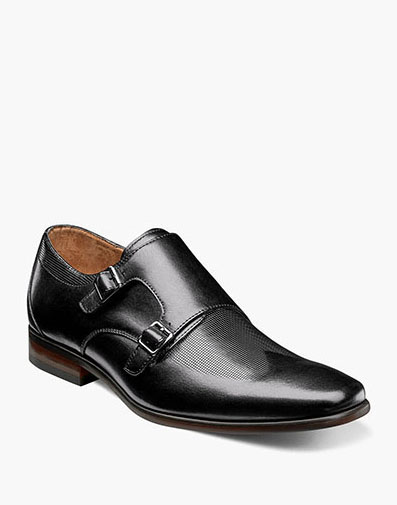 Postino  Wingtip Monk Strap in Black for $110.00