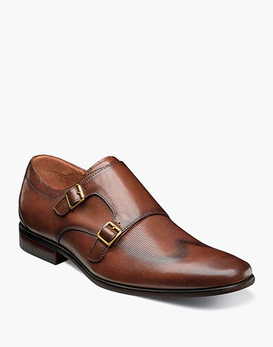 Postino  Wingtip Monk Strap in Cognac for $110.00