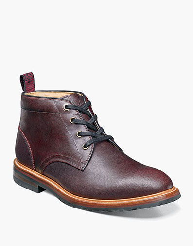 Foundry Plain Toe Chukka Boot in Burgundy for $280.00