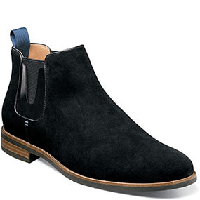 Uptown Plain Toe Gore Boot in Black Suede for 99.90 dollars.