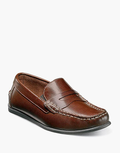 Jasper Jr. Moc Toe Penny Driver in Brown for 59.95 dollars.
