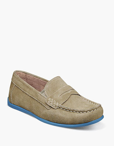 Jasper Jr. Moc Toe Penny Driver in Sand for 59.95 dollars.