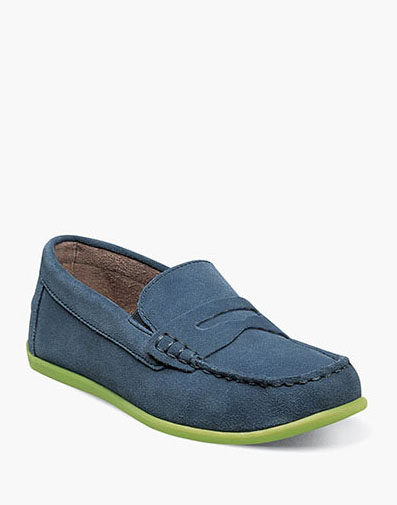 Jasper Jr. Moc Toe Penny Driver in Blue Suede for 59.95 dollars.
