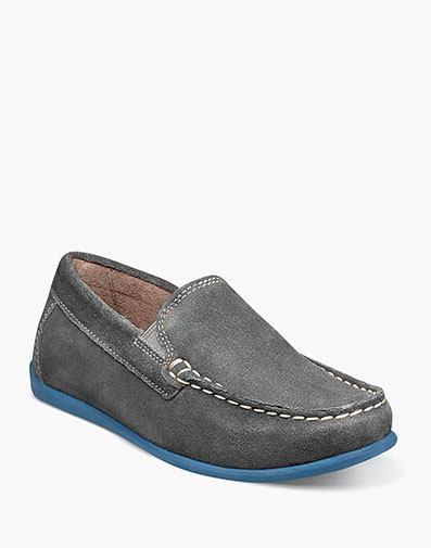 Jasper Jr. Moc Toe Venetian Loafer in Gray Suede for 59.95 dollars.