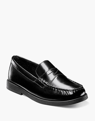 Croquet Jr. Moc Toe Penny Loafer in Black for $55.00