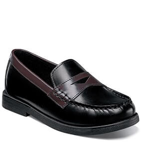 Croquet Jr. Moc Toe Penny Loafer in Black and Brown for $44.90
