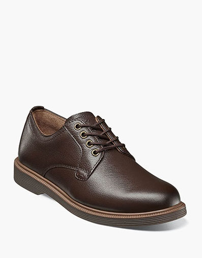 Supacush Jr. Plain Toe Oxford in Brown Tumbled for 62.95 dollars.