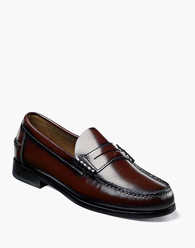 Berkley Moc Toe Penny Loafer in Burgundy for 115.00 dollars.