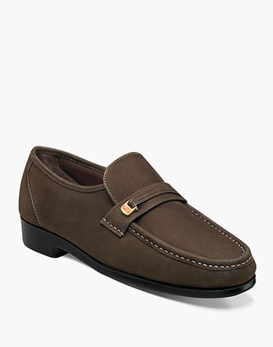 Riva Moc Toe Bit Loafer in Brown Nubuck for 79.90 dollars.