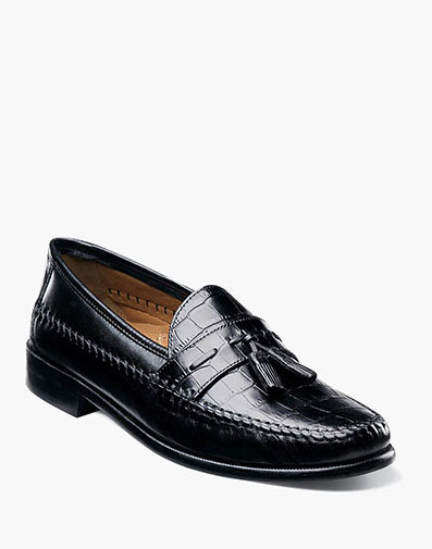 Pisa Moc Toe Tassel Loafer in Black for 120.00 dollars.