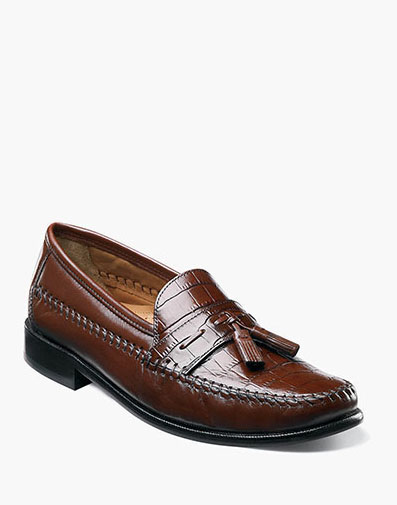 Pisa Moc Toe Tassel Loafer in Cognac for 120.00 dollars.