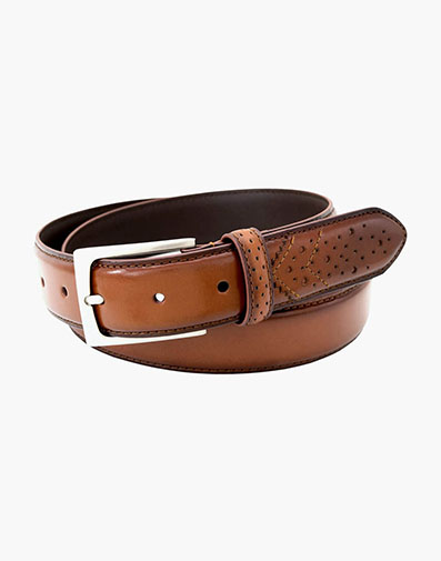 Castellano Wingtip Belt in Cognac for 53.00 dollars.
